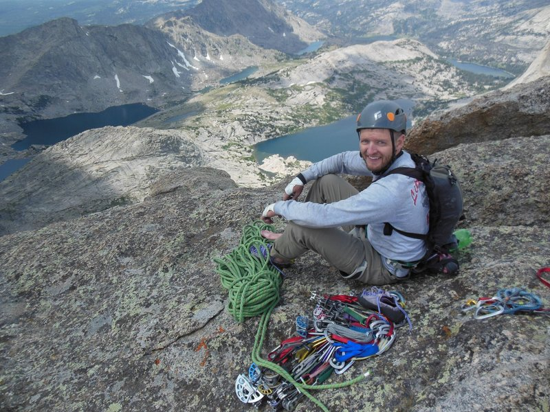 Bjorn on Summit of Temple Spire after climbing SW arete 2019.