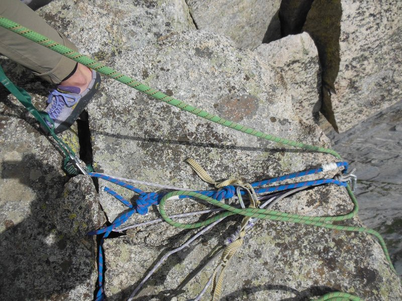 Wedged rock rappel anchor...