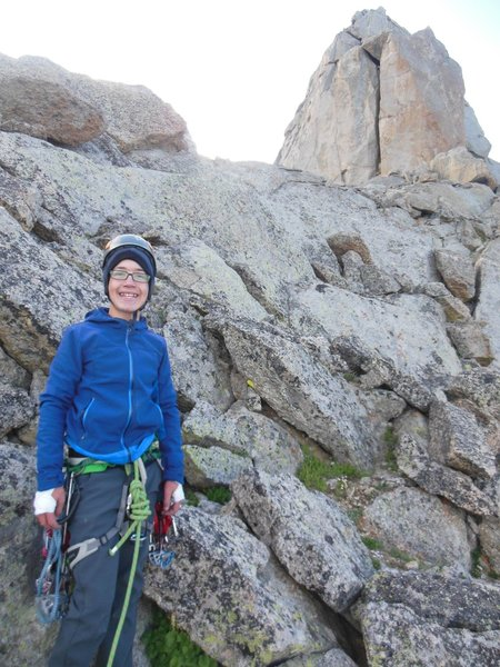 Lowe (13) on third class traverse with North Chimney begins 2019.