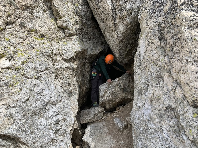 Brennen coming back through the Eye of the Needle on the descent