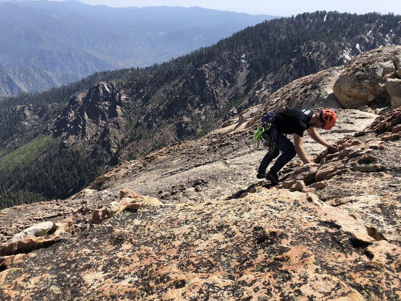 Matt scrambling to the peak