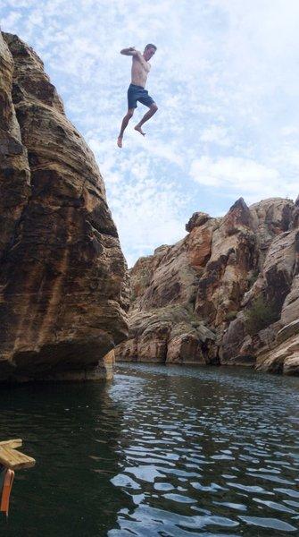 Sawyer jumping from the top of Thievius Raccoonus