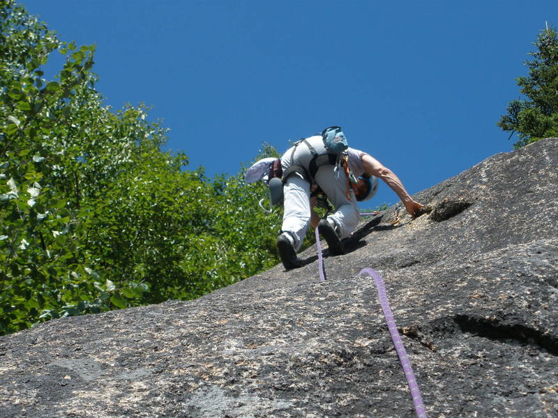 S Matz approaches the crux sequence on P2 of Arthur's Arete