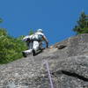 S Matz pads her way up the crux sequence on Arthur's Arete, P2