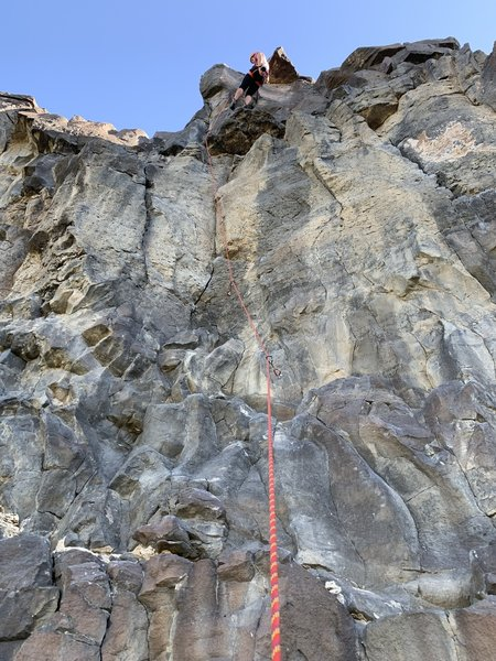 Lead route with rope