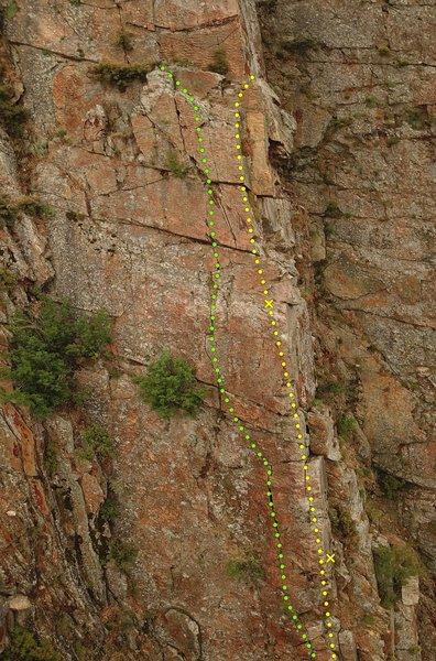 Second East Face P1 (Green), Prima Vista Arete P2 (Yellow)