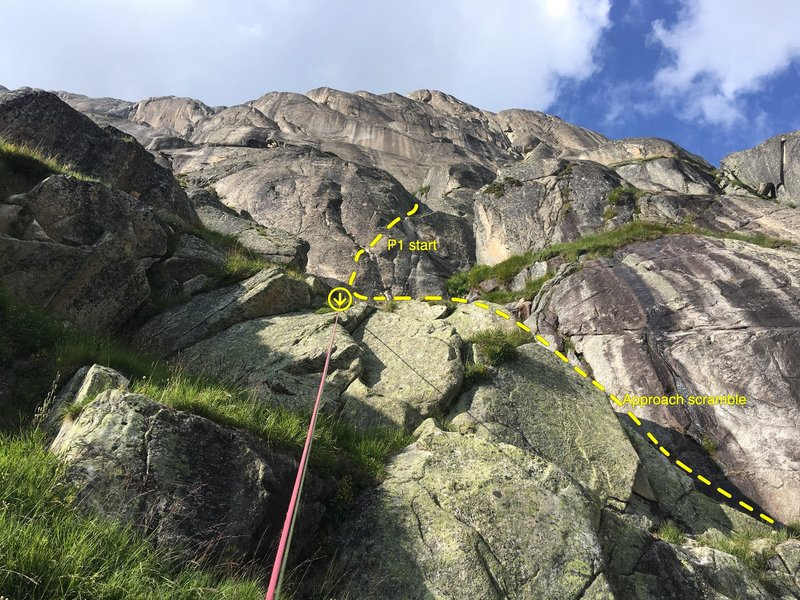 Location of the start. Here I'm rappeling off the P1 anchor bolts at the end of the day; look for this set of features while you are scrambling up.