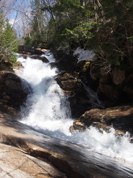 Swiftwater Falls from just above 2nd crossing of Falling Waters Trail (where trail crosses from up-hill right to uphill left)