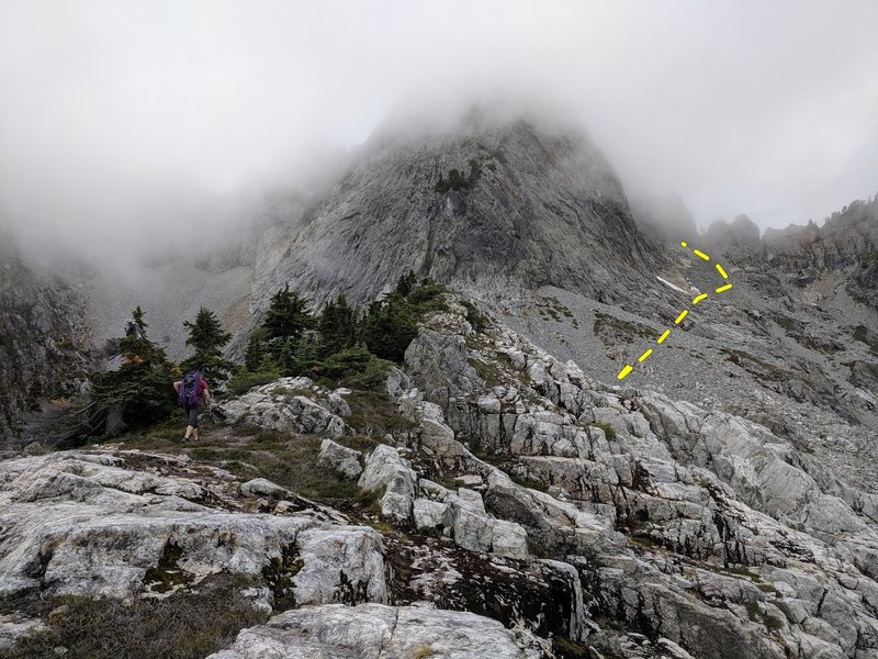 After grassy gully, continue on to the base of the NW ridge