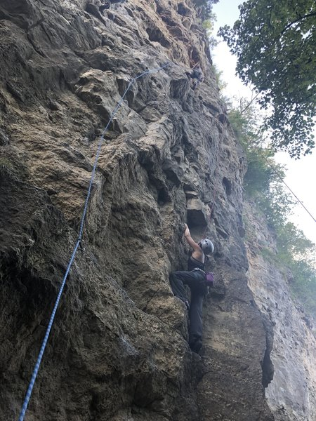 """Climber right, blue rope is """"Too Low For Zero"""""""