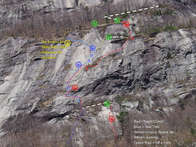 Detail of A Night Climb for 2 Knights.  Bolts not shown on slab of P1