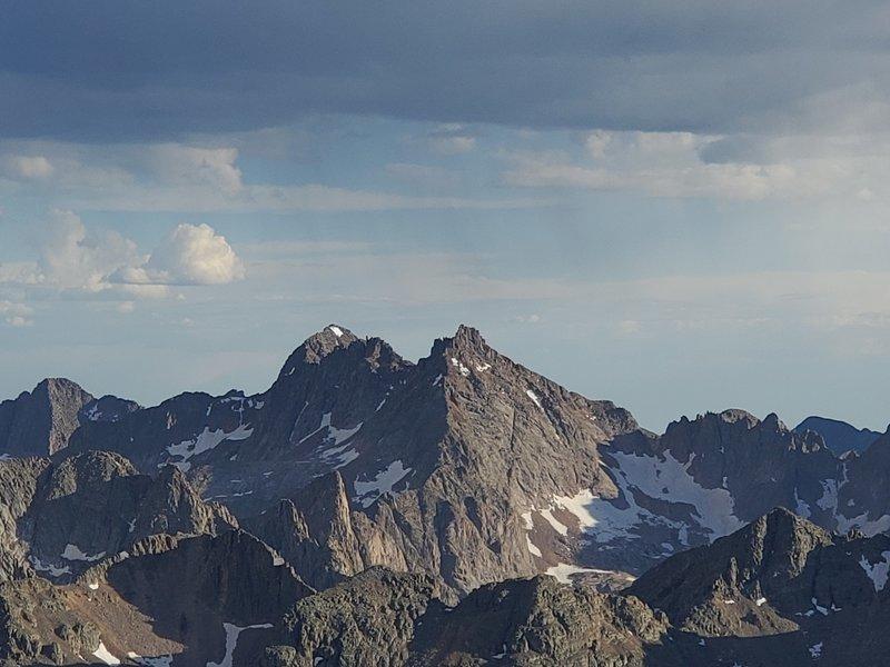 North side of Windom, the spire and Sunlight peak as seen from Vestal Peak.