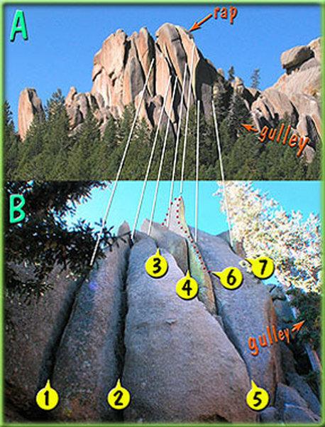 Topo credit: Skip Harper https://www.vedauwoo.org/vertical-freeway/<br> <br> 1. Frontage Road, 5.9.<br> 2. Left Lane, 5.8.<br> 3. Passing Lane, 5.10b.<br> 4. The Gas Hog, 5.10c.<br> 5. Main Lane, 5.10a.<br> 6. Overdrive, 5.12a.<br> 7. Right Lane, 5.10c.