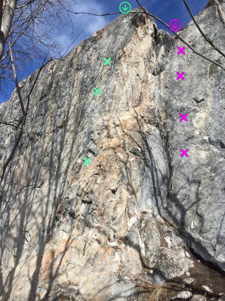 Fun arete climb in mint and Corner climb in magenta.