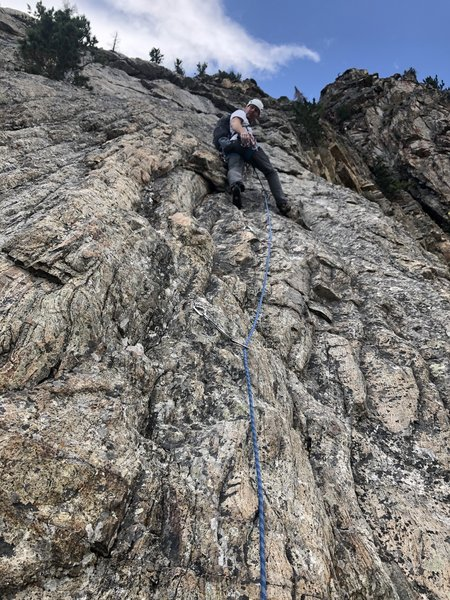 The crux pitch of the easiest way.