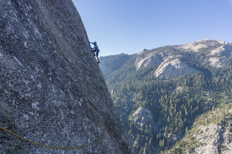 P9 slab traverse. Tokopah domes in the background