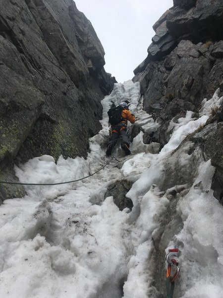 Climbing the crux in sketchy, rotten late-season conditions. June 2019 (NOT RECOMMENDED).