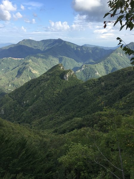 Views from the top of the routes at La Rocchette in Tuscany, Italy.
