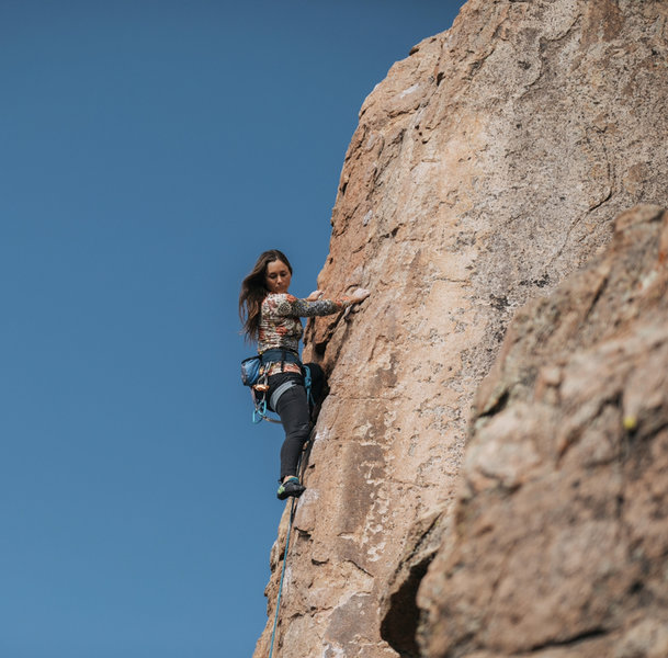 Meg nearing the top of Bye Crackie 5.7 classic