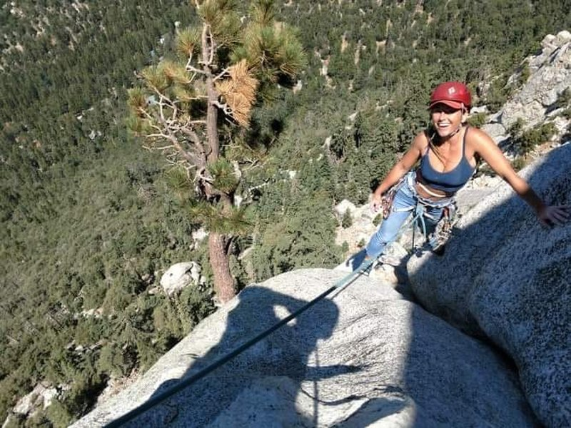 Getting to the top of pitch 3 on Angels Fright 5.6