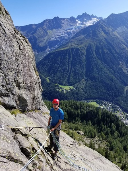 Climbing La Fee des Duides with Argentierre in the background