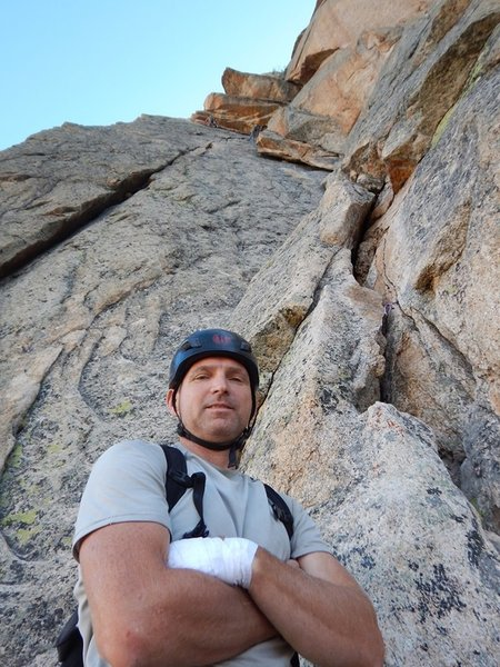 Looking up at the flake pitch on the Mountaineer's Route