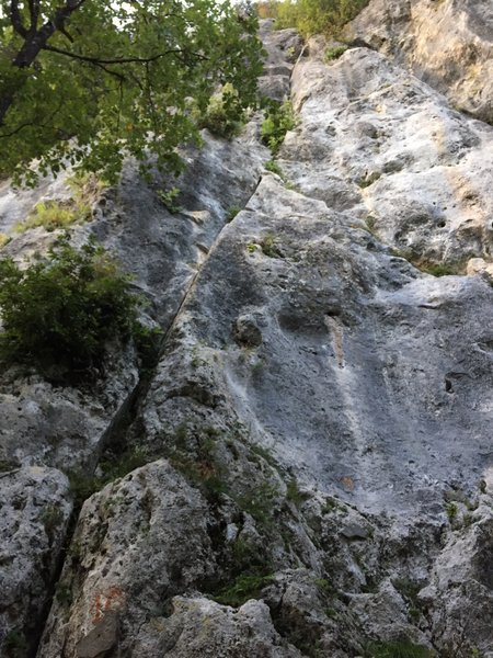 """The perfect and long line """"Spiritella"""" at Trombacco crag in Tuscany, Italy."""