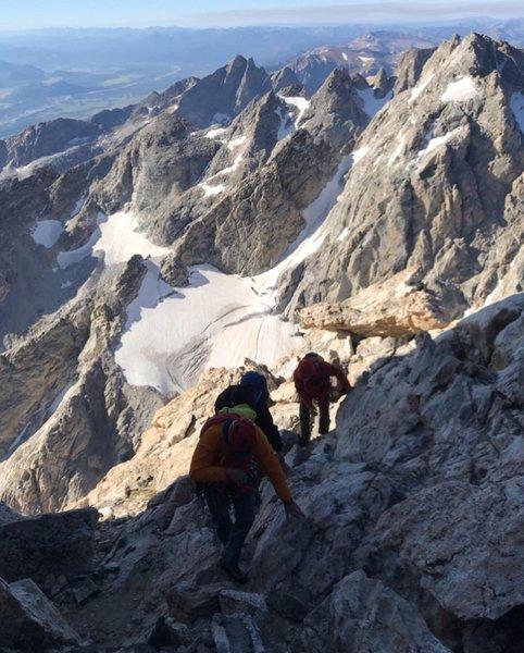 Climbers coming up Upper Exum