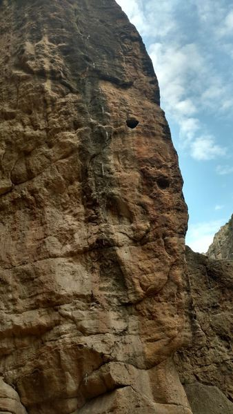 This is the right route on the arete without the quickdraws