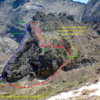 Spearhead west-side descent. Original photo and route (red dashed line) from MP member Jeff G.