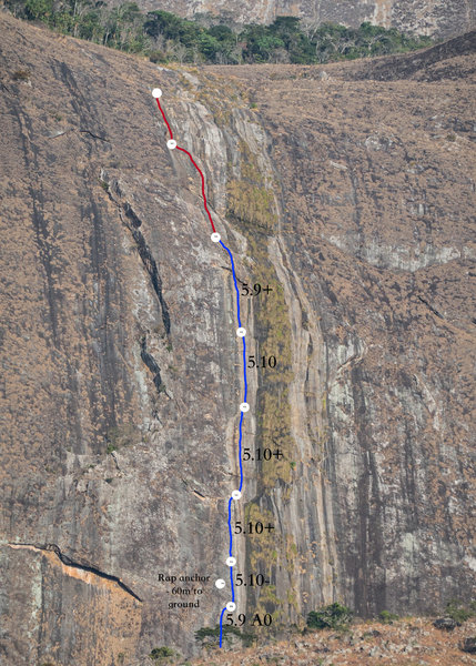 Runnel of Life Topo. Notice the alternative rap anchor that lets you get down from the top of pitch 3 in two 60m rappels. The red is the two unfinished pitches. They are much easier than the first 6 pitches, but they are free solos in their current state.