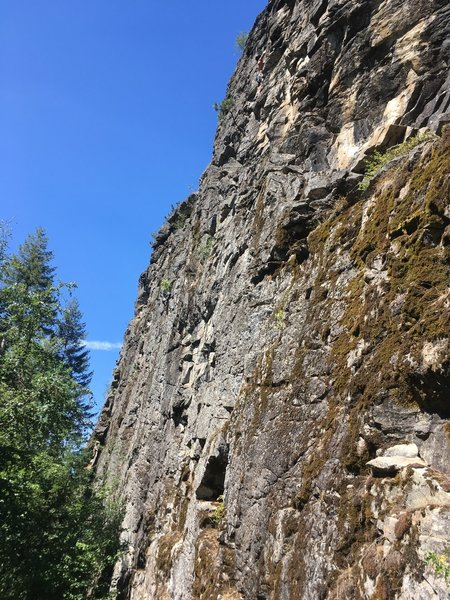 The  center of Outlaw Wall. The four main routes go up the middle here.
