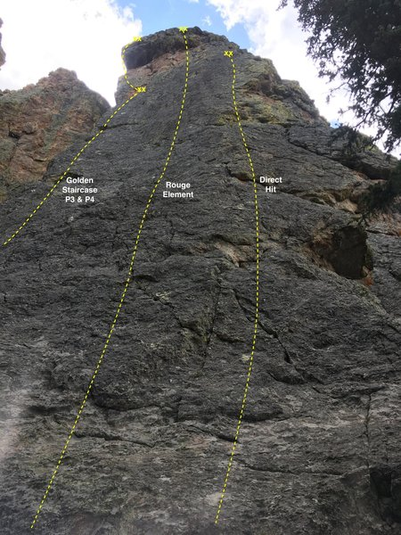The north face of Half & Half crag showing the location of Direct Hit and two adjacent climbs.