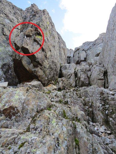Left Chimney of N Wall, old sling.