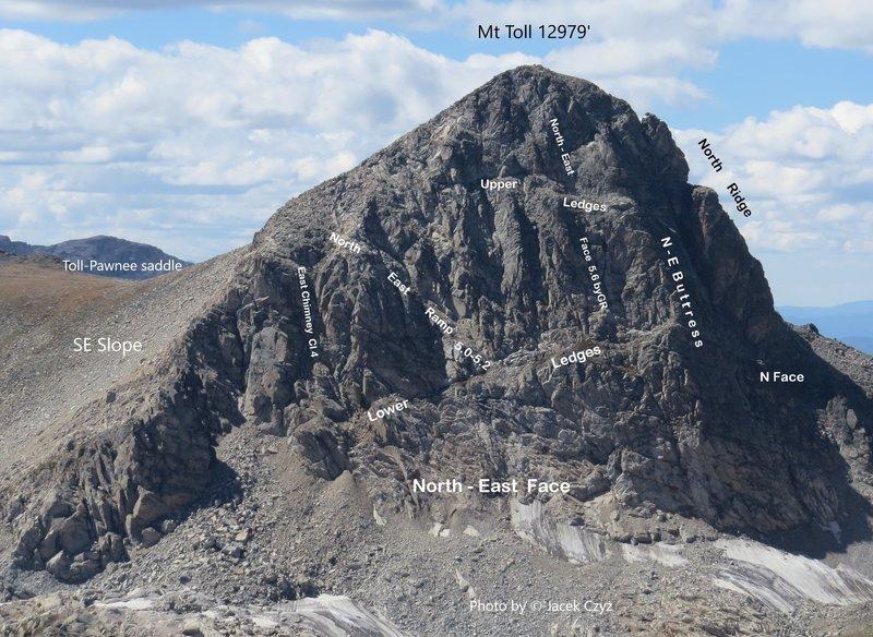 Mt. Toll NE Face from SE Ridge of Audubon; Sept. 2013.<br> .<br> Photo by © Jacek Czyz.
