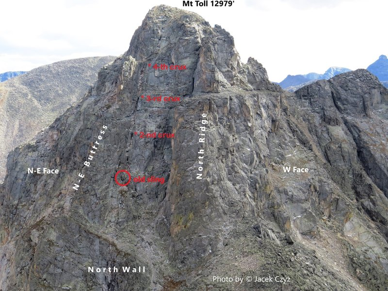 Mt. Toll, N Wall, Left Chimney 5.5-5.6 from Paiute Peak. Sept. 21, 2013.<br> <br> Photo by © Jacek Czyz.