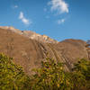"""The right side of the West Face of Chambe with """"The Malawi Diamond"""" sitting up high"""