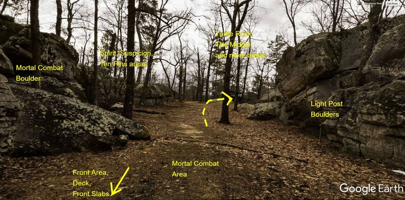 The main path down the boulder field