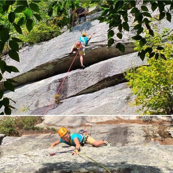 The up and down view of Spirit Guide crux roof with Penni Kaufman. Top photo by Rich Leswing. Bottom photo by Jamie Cunningham.