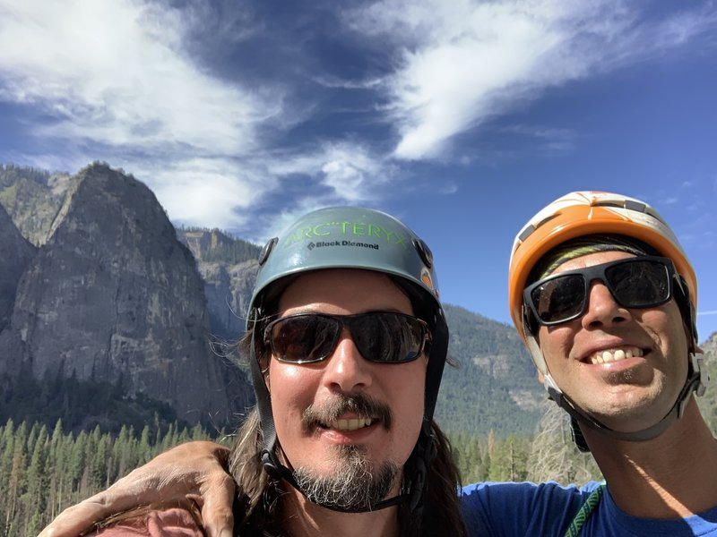 Paul an I on the first pitch of some random route no one has heard about (The Nose of El Capitan)!!!