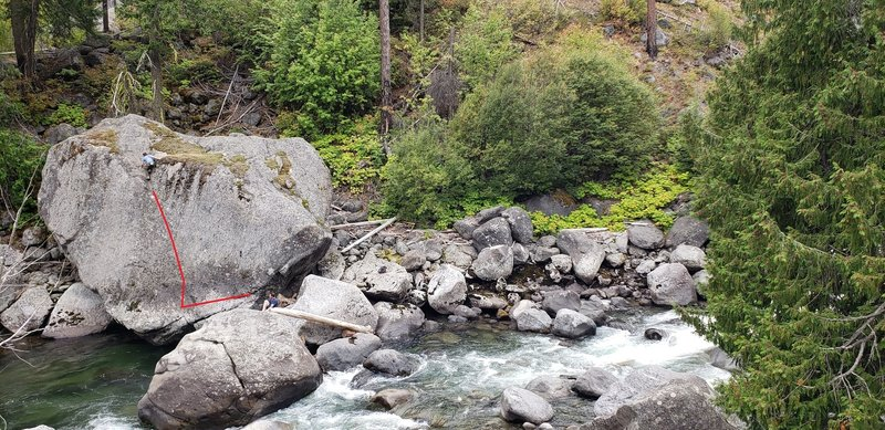 To get over there you can either walk a couple hundred yards upstream to a dry crossing.....or get naked and shimmy across the small boulders just left of center in this photo. Obviously the flow is going to dictate this. Photo from 9/15/19