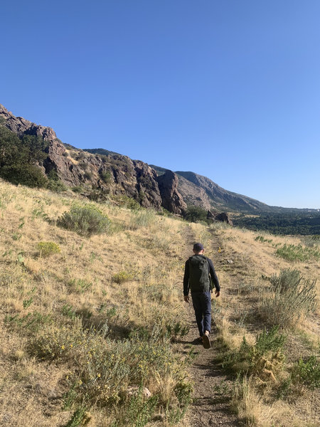 Taking the approach along the BST. Porter Cash is the rock outcropping straight ahead.