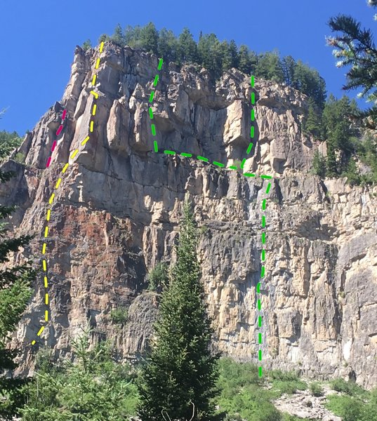 Silker Wall, Boy Scout Cirque, TV Arête left sun shade, Moonrise Kingdom, right of foreground tree, Madatory Air roof crack in red.