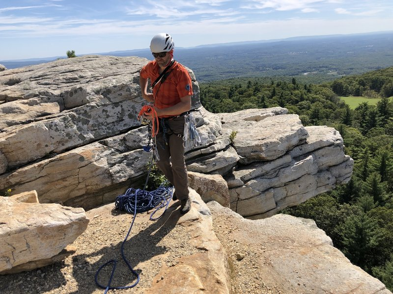 Marty Molitoris of Alpine Endeavors at the top of Gargoyle. Presumably, the jutting rock behind him inspired the name.