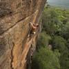 Sasha Gerzha climbing Shadow Boxer (30/8a+), at Cassia Cliffs - Australia