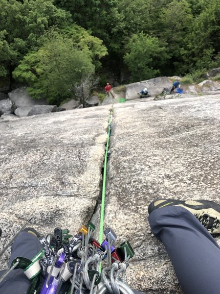 Looking down from the anchors on Cat Crack