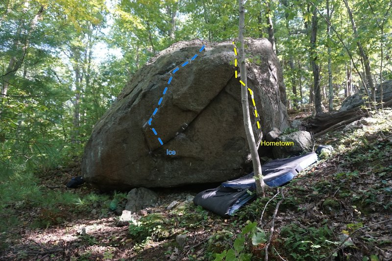 The overhung face of the Blue path Boulder.