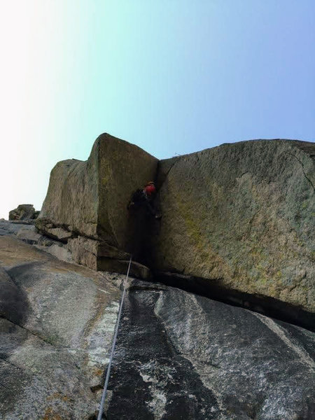Tackling the roof of Markingstone.