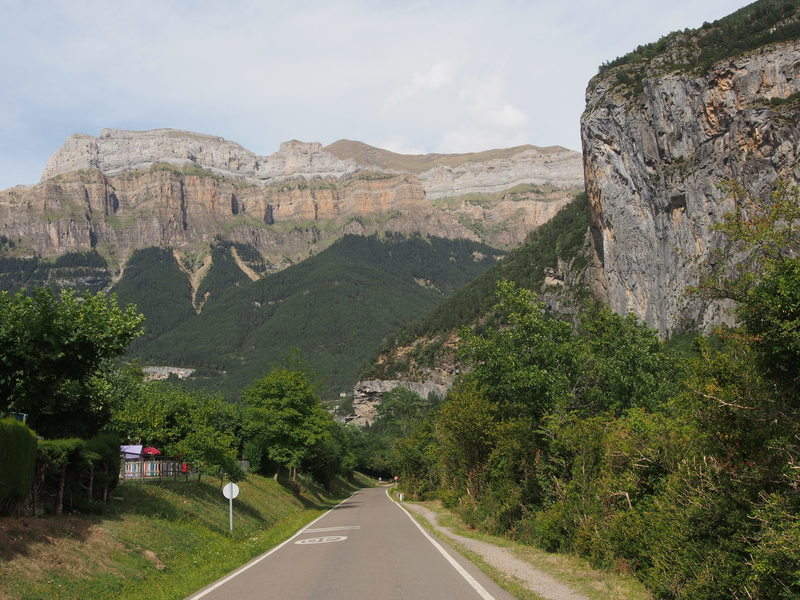 Driving out of Torla towards Odesa Nat. Park.  On the right, one of the sport areas.  Straight ahead, about 1/6th of the East Wall of the Ordesa Valley