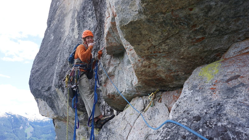 """Starting the """"10 star pitch"""". Anything but 10 stars. Note the fear nest. Terrible rock."""